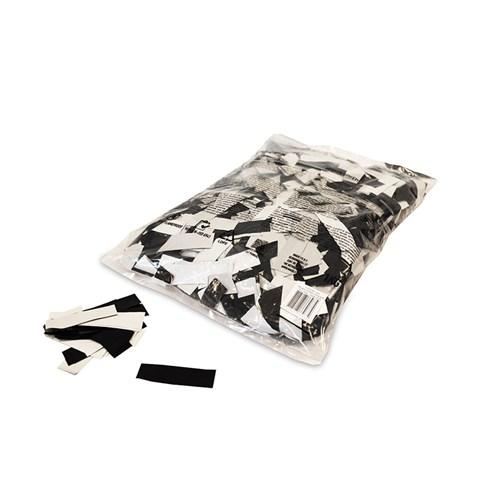 Metallic confetti rectangles 55x17mm – Zwart-Wit – 1KG