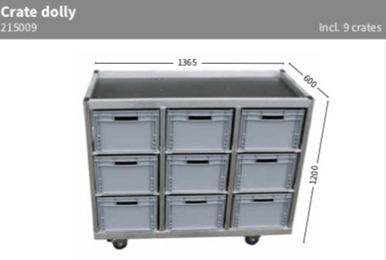 Dolly crates 136,5x60x110cm incl 9 crates